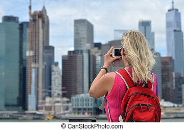 取得, ヨーク, 都市, 新しい, 映像, 女, スカイライン