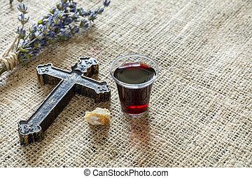 取得, 交差点, ガラス, 聖餐, bread, ワイン
