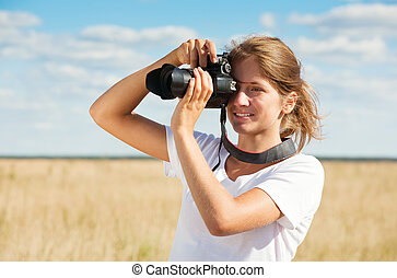 取得, 女の子, カメラ, 写真