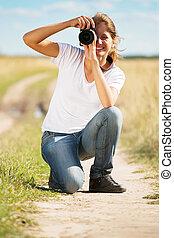 取得, 女の子, 若い, 写真