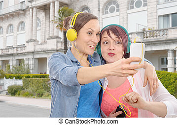 取得, 女性, 若い, 2, selfie.