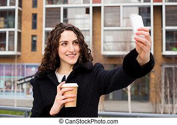 取得, 女, selfie, 若い