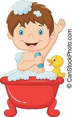 取得, 子供, 漫画, 浴室