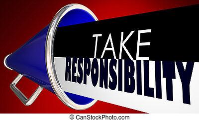 取得, 責任, メガホン, bullhorn, accountable, 3d, イラスト