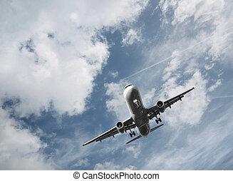 取得, 飛行機, 離れて, 乗客
