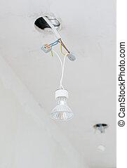 取消される, ハロゲンライト, 電球, 上に, 電気である, wires.