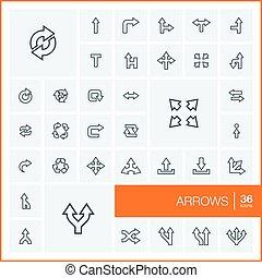 取消しなさい, 方向, セット, 線である, elements., pictogram, ベクトル, 動きなさい, イラスト, 権利, 薄くなりなさい, symbols., デザイン, 矢, スイッチ, 左, アイコン, 線, 回転, グラフィック, アウトライン