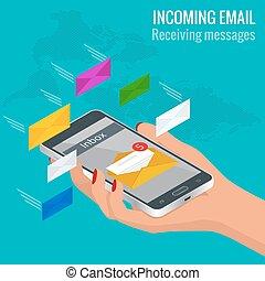 受け取られた, 等大, 女, 入ってくる, モビール, concept., メッセージ, 電子メール, ベクトル, 電話。, オンラインで, メッセージ, 受け取ること, 電子メール