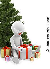 受け取られた, image., 背景, gifts., 白, 人, 3d