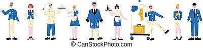 受付係, ドアマン, 守衛, スタッフ, 青いユニフォーム, セット, イラスト, ウェートレス, お手伝い, ボーイ, ベクトル, シェフ, 特徴, マネージャー, ホテル