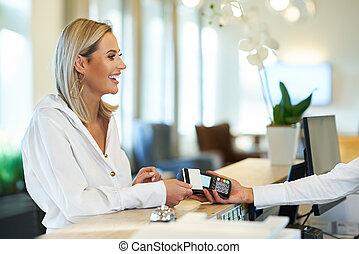 受付係, 机, ホテル, 前部, 女性実業家
