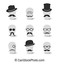口ひげ, 型, 帽子, コレクション, ガラス