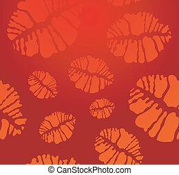 口紅, パターン, seamless, 形, 接吻, 印刷