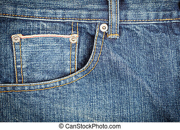 口袋, 关闭, 牛仔裤,