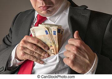 口袋, 商人, 放, 钱