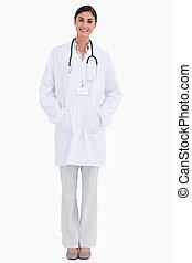 口袋, 她, 醫生, 女性, 手, 微笑