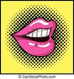口, スタイル, 芸術, 女性, ポンとはじけなさい