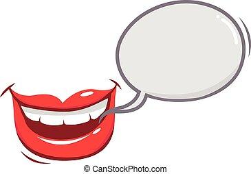口, ベクトル, 話し。, 女性, イラスト
