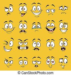 口, faces., 特徴, 風刺漫画, 意味深長, ベクトル, 表現, 別, emotions., 面白い, かわいい, 漫画, 顔, 目, コレクション