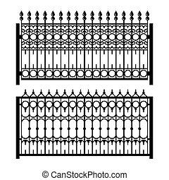 古いスタイル, 装飾用である, 鉄, フェンス, set., ベクトル