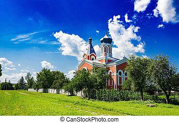 古い教会, 上に, a, 青い空, バックグラウンド。, 美しい, 風景