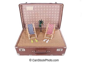 古い木, やし, スーツケース, 小片, 浜