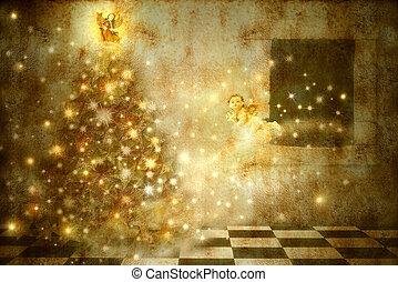 古い木, 家, 天使, クリスマスカード