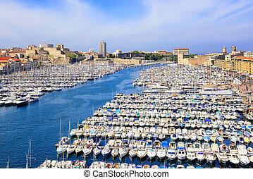 古い港湾, 都市で, 中心, の, マルセーユ, フランス