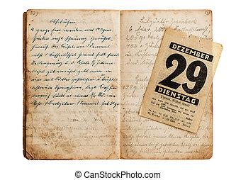 古い骨董品, カレンダー, 料理の本, 開いた, ページ