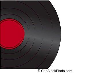古い骨董品, 中心, 型, 白, イラスト, ミュージカル, レコード, アナログ, ベクトル, 黒, レトロ, 背景, 活気に満ちた, 情報通, 蓄音機, left., 赤, ビニール