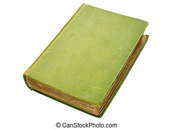 古い, うす汚い, 上に, 隔離された, 本, 緑, white., ハードバック
