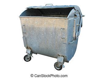 古い, ごみ, 金属, 隔離された, 容器, 白, 屑