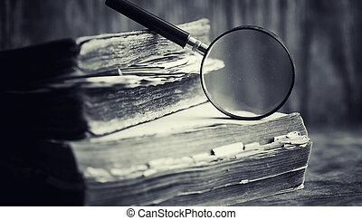 古い, を過ぎて, 本, 百科事典, レトロ, テーブル。