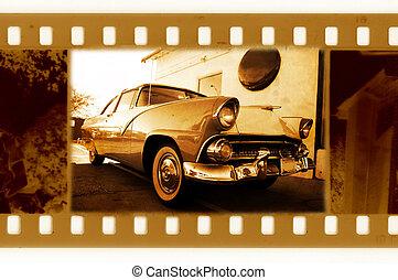 古い, アメリカ, 写真フレーム, 35mm, レトロ, 自動車