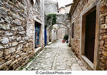 古い, アーチ形にされる, istria, 通り, croatia, 村, 中世