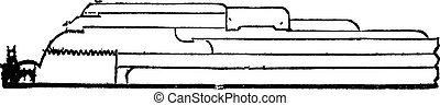 古い, アームストロング, 型, セクション, 銃, engraving.
