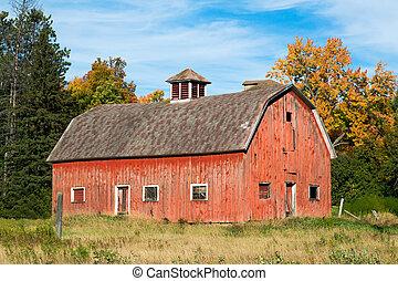古い, ウィスコンシン, 赤い納屋