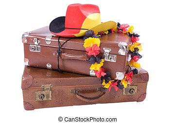 古い, カウボーイ, 上に, フットボール, 2, 小屋, スーツケース