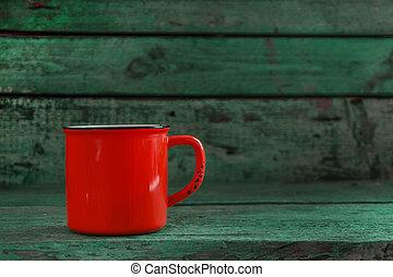 古い, カップ, 木製である, 緑の背景, 赤