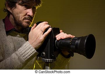 古い, カメラ。, フィルム, 映画, 人