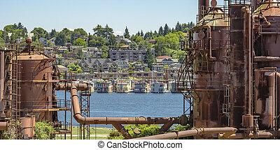 古い, ガス, 植物, ∥で∥, 光景, の, 湖 連合, そして, 都市