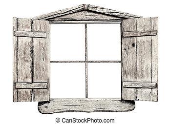 古い, グランジ, ライト, 木製である, 窓枠, 隔離された, 白