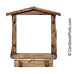 古い, グランジ, 木製である, 窓枠, なしで, シャッター, 隔離された, 上に, white.