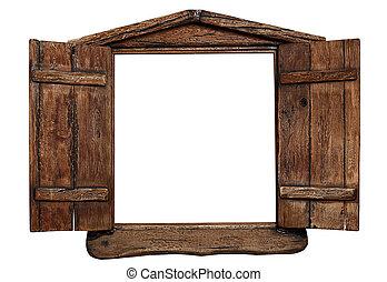 古い, グランジ, 木製である, 窓枠, 隔離された, 白