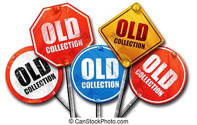 古い, コレクション, レンダリング, 通りは 署名する, 3d