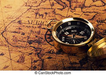 古い, コンパス, 上に, 型, 世界地図