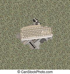 古い, コンピュータ, そして, キーボード, カバーされた, によって, 大いに, の, チップ