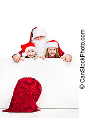 古い, サンタクロース, そして, 2, わずかしか, 子供, 後ろ立つこと, 白, ブランク, poster., 赤,...