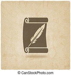 古い, シンボル, 執筆, 背景, 羽, スクロール