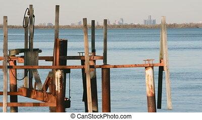 古い, スカイライン, 川, ドック, デトロイト